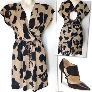 RACHEL RACHEL ROY CHEETAH OPEN BACK DRESS SZ S